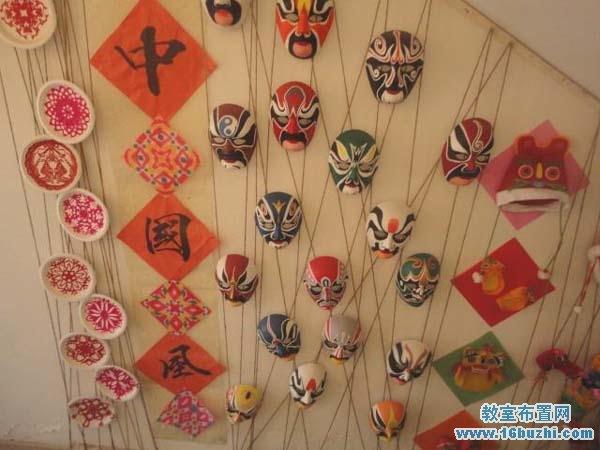 幼儿园区角墙面中国风设计图片:脸谱