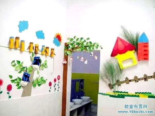 幼儿园厕所大门墙面装饰图片