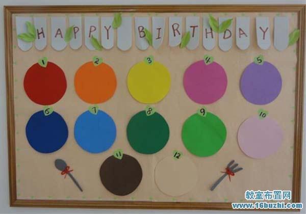 幼儿园小班生日墙手工装饰图片_教室布置网