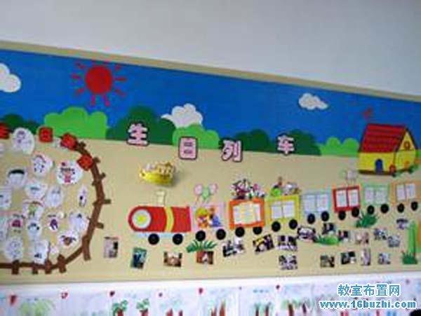 幼儿园生日列车主题墙装饰设计图片