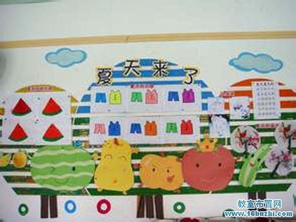幼儿园夏天特色主题墙布置图片:夏天来了